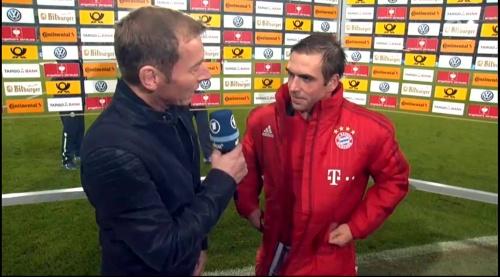 Philipp Lahm – Wolfsburg v Bayern (DFB Pokal 15-16) interview 1