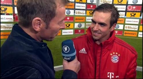 Philipp Lahm – Wolfsburg v Bayern (DFB Pokal 15-16) interview 2