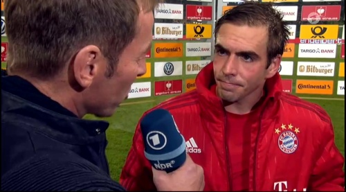 Philipp Lahm – Wolfsburg v Bayern (DFB Pokal 15-16) interview 3