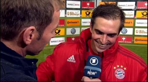 Philipp Lahm – Wolfsburg v Bayern (DFB Pokal 15-16) interview 4