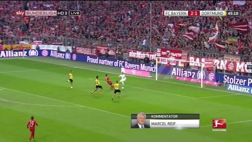Robert Lewandowski – 1st goal – Bayern v Dortmund 3