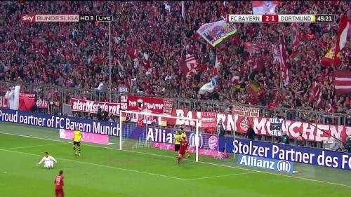 Robert Lewandowski – 1st goal – Bayern v Dortmund 4