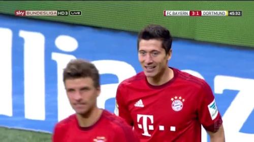 Robert Lewandowski – 1st goal – Bayern v Dortmund 5