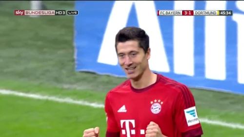 Robert Lewandowski – 1st goal – Bayern v Dortmund 6