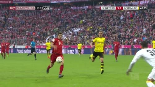 Robert Lewandowski – 1st goal – Bayern v Dortmund 7