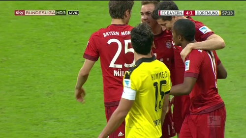 Robert Lewandowski – 2nd goal celebrations – Bayern v Dortmund 3