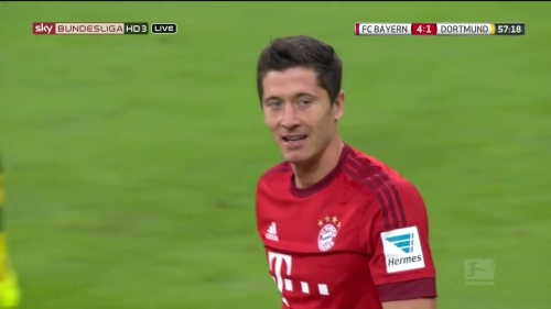 Robert Lewandowski – 2nd goal celebrations – Bayern v Dortmund 4