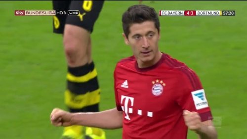 Robert Lewandowski – 2nd goal celebrations – Bayern v Dortmund 5