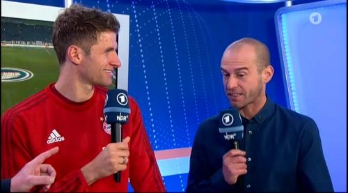 Thomas Müller – Wolfsburg v Bayern (DFB Pokal 15-16) interview 4