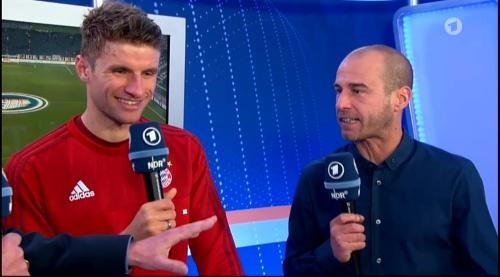 Thomas Müller – Wolfsburg v Bayern (DFB Pokal 15-16) interview 5