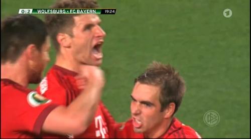 Thomas Müller & Philipp Lahm – Wolfsburg v Bayern (DFB Pokal 15-16) 1