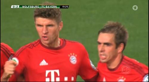 Thomas Müller & Philipp Lahm – Wolfsburg v Bayern (DFB Pokal 15-16) 2