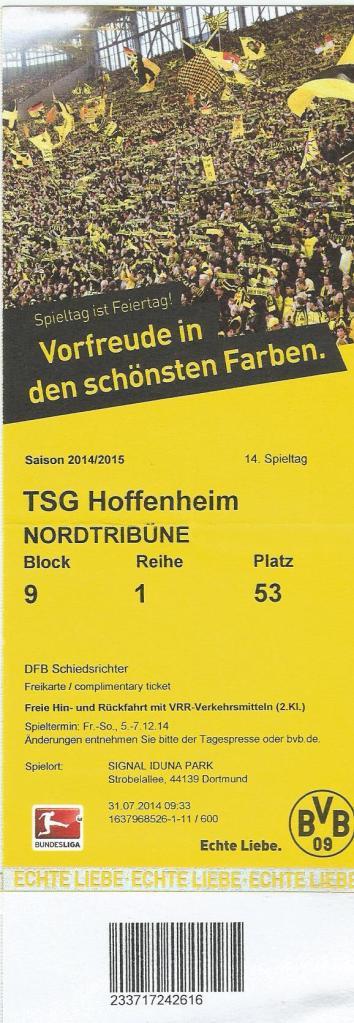 Borussia Dortmund v TSG 1899 Hoffenheim - 2014-15 ticket