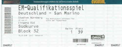 Deutschland-San Marino - EM 2008 qualifier ticket