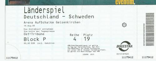 Deutschland-Schweden friendly ticket - 16-8-06