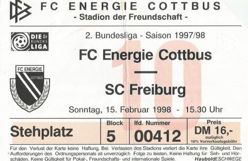 FC Energie Cottbus v SC Freiburg - 2. Bundesliga 1997-98 ticket