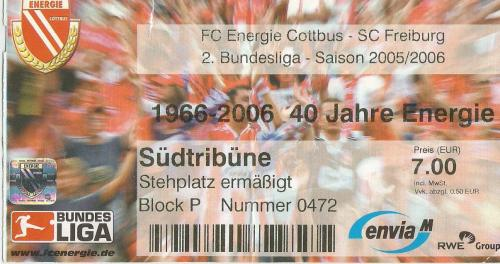 FC Energie Cottbus v SC Freiburg - 2. Bundesliga 2005-06 ticket
