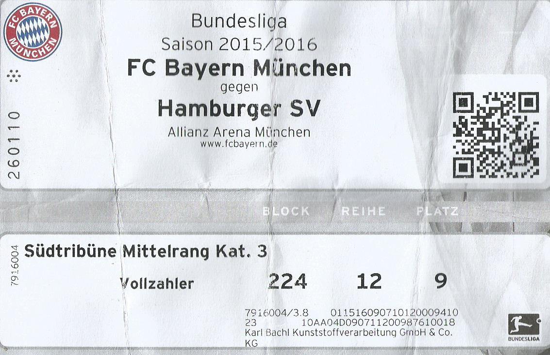 VfB Stuttgart TICKET 2015//16 FC Bayern München