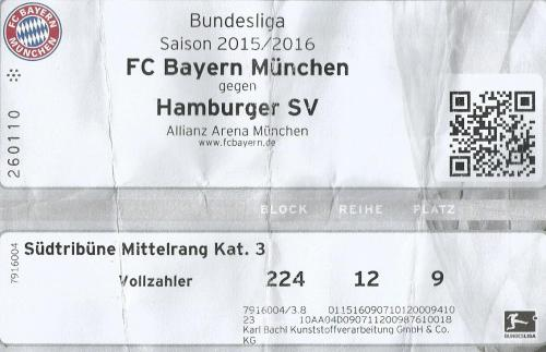 FCB v HSV - 2015-16 ticket