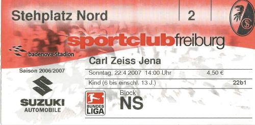 SC Freiburg v Carl Zeiss Jena - 2. Bundesliga 2006-07 ticket