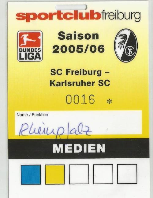 SC Freiburg v Karlsruher SC - media pass 2005-06