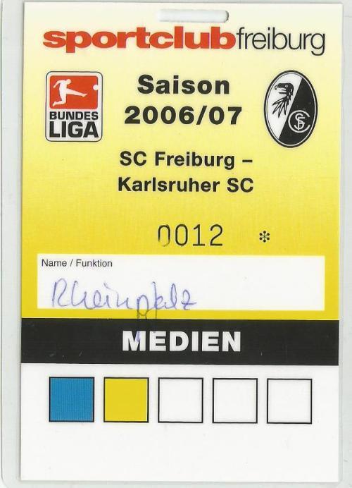 SC Freiburg v Karlsruher SC - media pass 2006-07