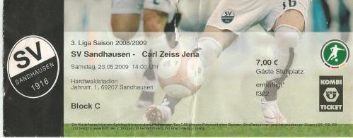 SV Sandhausen v Carl Zeiss Jena - 3. Bundesliga 2008-09 ticket