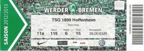 SV Werder Bremen v TSG 1899 Hoffenheim - 2012-13 ticket