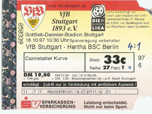 VfB Stuttgart v Hertha BSC - 1997-98 ticket