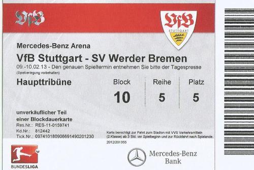 VfB Stuttgart v SV Werder Bremen - 2012-13 ticket