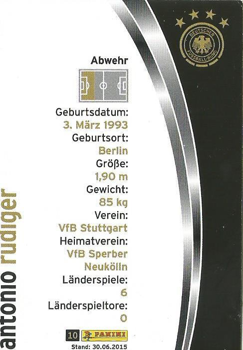 Antonio Rudiger - DFB card 2015-16 2