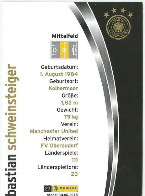 Bastian Schweinsteiger - DFB card 2015-16 2
