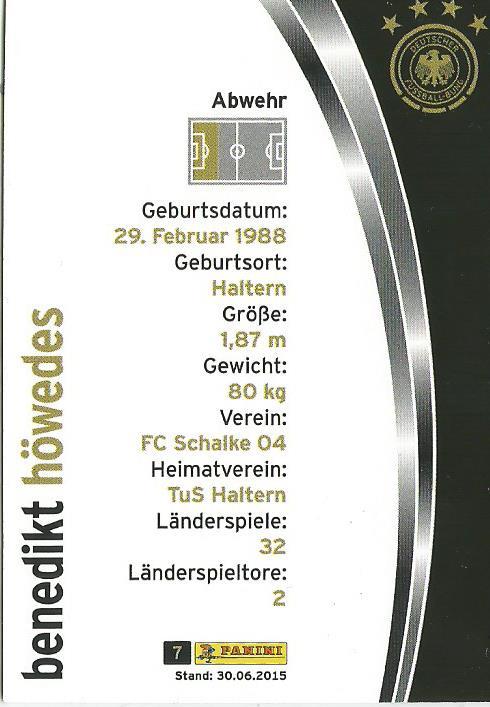 Benedikt Höwedes - DFB card 2015-16 2