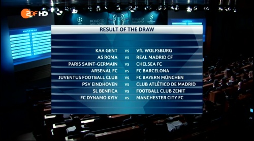 Champions League draw results - last 16 - 2015-16
