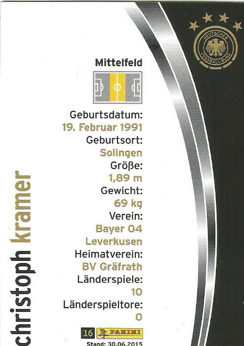 Christoph Kramer - DFB 2015-16 card 2