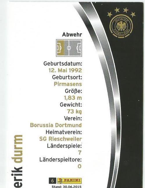 Erik Durm - DFB 2015-16 card 2