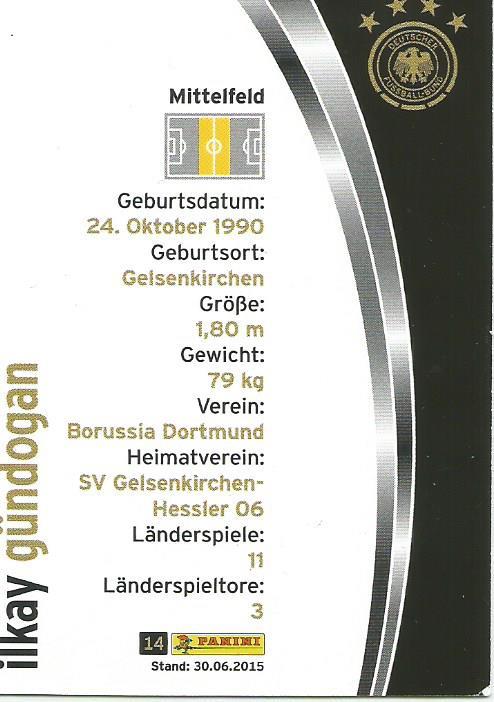 Ilkay Gundögan - DFB card 2015-16 2