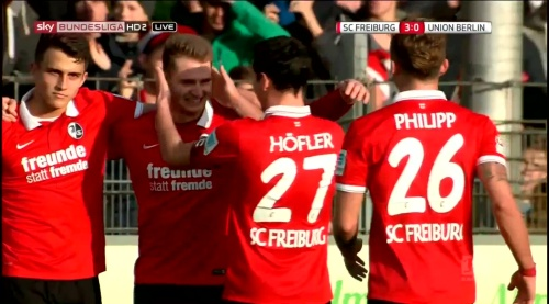 Immanuel Höhn goal celebration - SC Freiburg v 1. FC Union Berlin 2