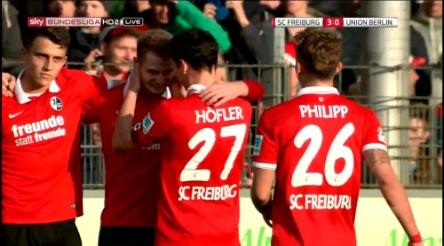 Immanuel Höhn goal celebration - SC Freiburg v 1. FC Union Berlin 3