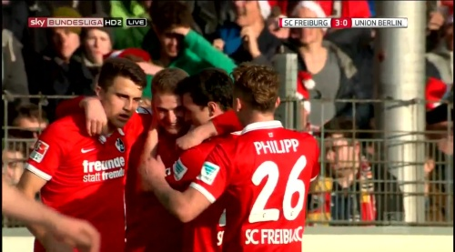 Immanuel Höhn goal celebration - SC Freiburg v 1. FC Union Berlin 4