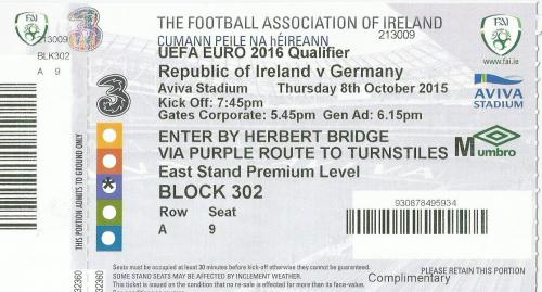 Ireland v Germany 2015 ticket