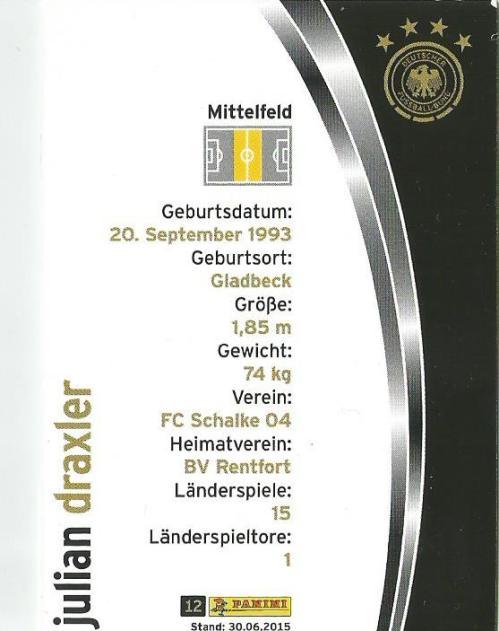 Julian Draxler - DFB card 2015-16 2