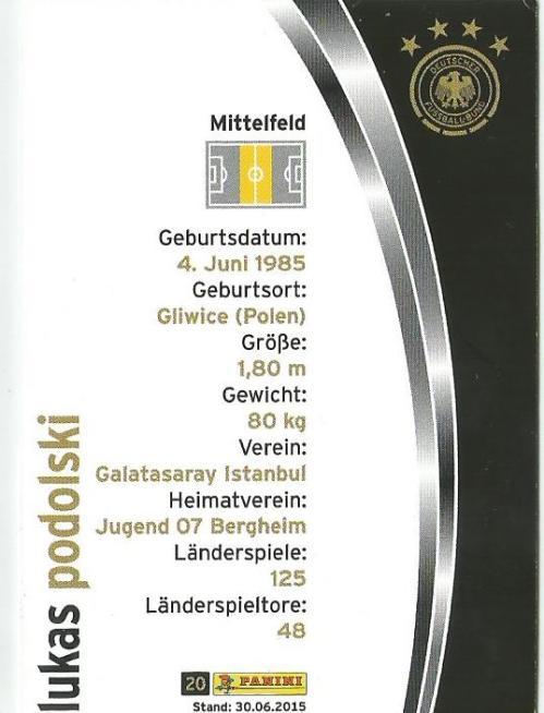 Lukas Podolski - DFB card 2015-16 2