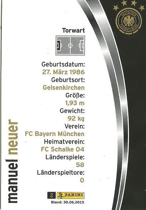 Manuel Neuer - DFB 2015-16 card 2
