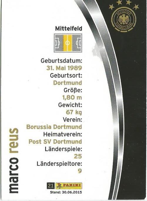 Marco Reus - DFB card 2015-16 2