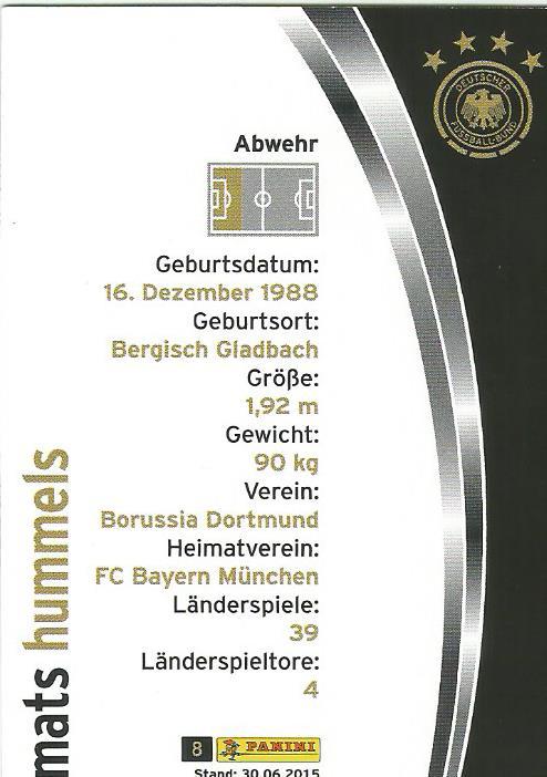 Mats Hummels - DFB 2015-16 card 2
