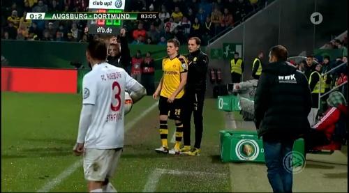 Matthias Ginter & Thomas Tuchel - Augsburg v Dortmund - DFB Pokal 2
