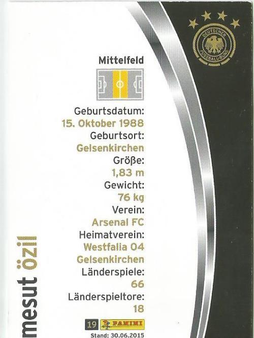 Mesut Özil - DFB card 2015-16 2