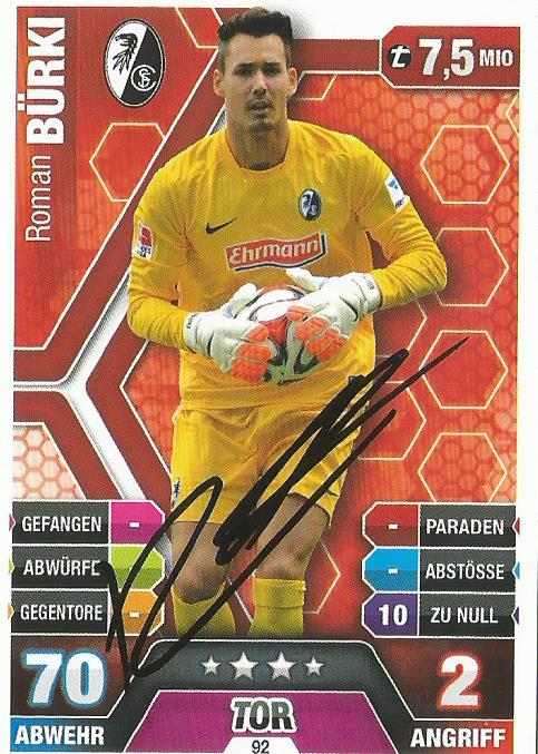 Roman Bürki – signed Freiburg Match Attax card