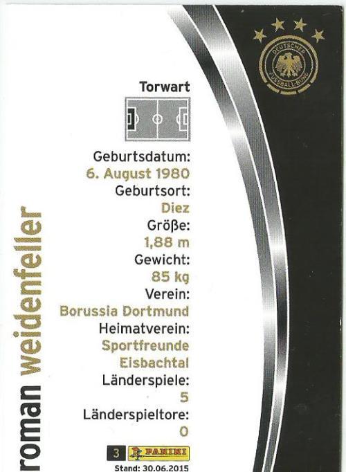 Roman Weidenfeller - DFB card 2015-16 2